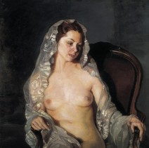 ZULOAGA ZABALETA, Ignacio (1870-1945). Nude with mantilla. 1st half 20th c. Romanticism. Oil on canvas. Private Collection.